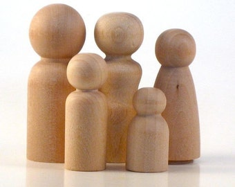Wooden Peg Dolls - Unfinished Peg People - Family of Five - Paint Your Own Waldorf Wood Dolls