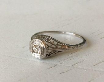Stunning Detail Old Mine Cut Diamond Filigree Engagement Ring - 18k White Gold