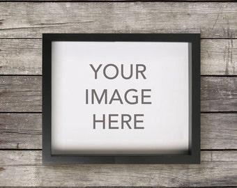 Horizontal Black Frame Mockup on Distressed Grey Wood Background, Landscape Format, Art Styling, Photography Poster Mockup, INSTANT DOWNLOAD