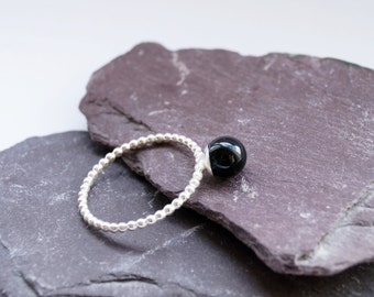 Black Onyx Sphere Sterling Silver Ring ~ statement ring, stacking ring, gemstone, unique, wedding, bridesmaid, bands, solitaire