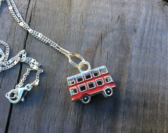 Red London bus necklace on a silver plated necklace- christmas gift - etsy uk - British handmade necklaces - london jewellery - uk