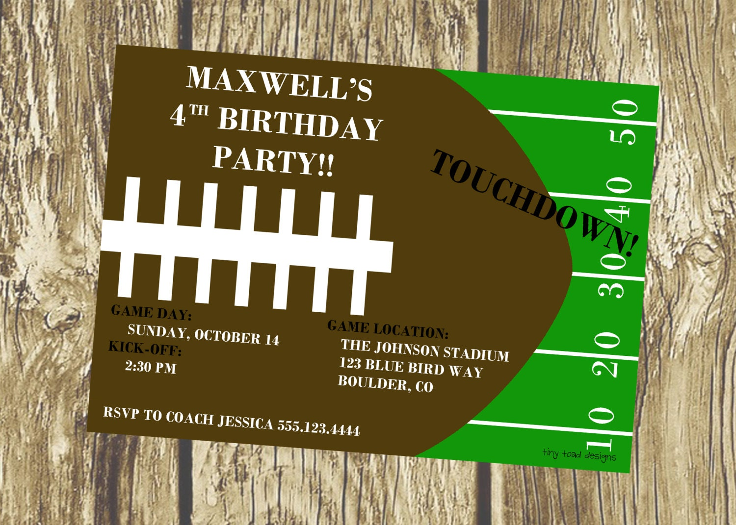 Football field kickoff birthday party invitation or super bowl zoom stopboris Image collections