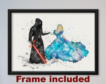 Kylo Ren and Cinderella Star Wars Poster Watercolor Print gift for her him FRAMED Print