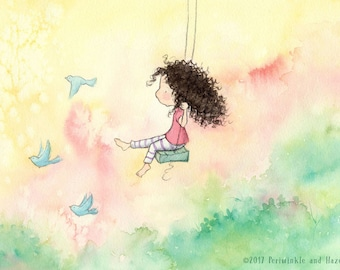 The Girl Who Wanted To Fly - Brunette Girl Swinging and Bluebirds - Long Curly Hair - Art Print - Children