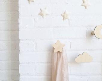 Wall hook. Cloud, Cloud Hook, Star, Moon. Nursery Decor, Wall Hooks, Kidsroom Wall Decor, Wooden Hooks, Wall Decor, Dreamcatcher Hook