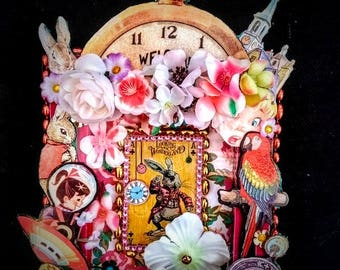 Mixed Media Technicolour Large Story Box, Assembleage, Collage, Down Rabbit Hole