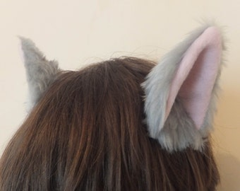 Cosplay Furry Grey Silver Cat Kitty Kitten Neko Animal Ears on Hair Clips Halloween Costume Festival Fursuit
