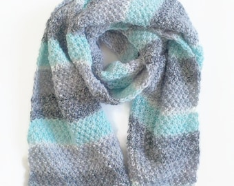 Open Ended Scarf Grey knit scarf Knit Blanket Scarf Knitted Scarf Knit Long Scarf Wool Soft Scarf Men Scarf Huge Blanket Scarf Scarves
