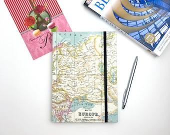 A5 travel journal, map notebook, europe, hardback workbooks, stationery