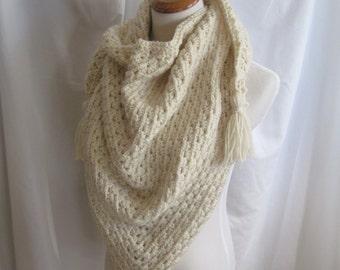Crochet Triange Scarf Shawl - Cream Off White - With Tassels