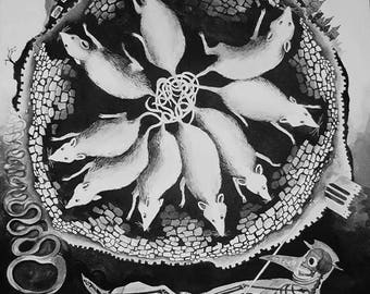 fine art PRINT - Ratking - rats, plague, black death, plague doctor, black and white, nocturnal, dark, gothic