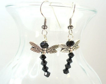 Black Dragonfly Earrings, Outlander Dragonfly Earrings, Black and Silver Earrings, Crystal and Silver Dragonfies - E0902-17