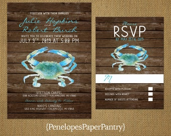 Rustic Blue Crab Beach Wedding Invitation,Blue Crab,East Coast,Wood,Shiplap,Ocean,Nautical,Unique,Custom,Printed Invitation,Wedding Set