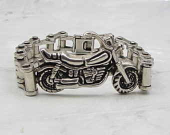 Mexico 925 sterling silver - men's motorcycle & chain 10mm heavy bracelet b1023