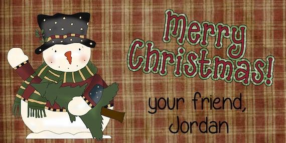 Merry Christmas Treat Bag Topper/DIY Printable/Primitive snowman with homespun checks