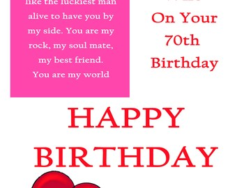 Wife 70 Birthday Card with removable laminate