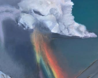 Rainbow In The Storm Oil Painting, Rainbow Cloud Oil Paintings, Colorful Rainbow Landscape Paintings, Snow Oil Paintings