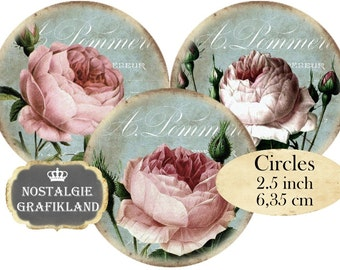 Roses Shabby Chic Circles 2.5 inch Instant Download digital collage sheet C181 Flowers Botanical