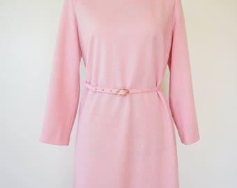 Vintage Dress/ 1970s Dress/ Vintage Womens Dress/ Retro Dress/ Retro Clothing/ Pink Dress/ Wool Dress/ Rockabilly Dress/ Henry Lee Dress