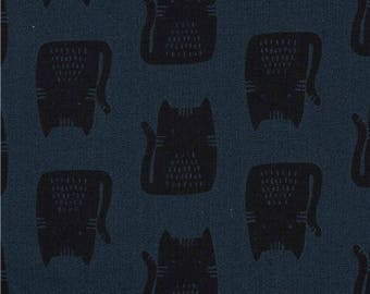 215340 dark blue-green with black cat animal Canvas fabric Andover USA Maker Maker