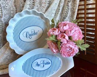 Blue Stripe French Oven Bakeware Ceramic Quiche Pie Plate A La Carte Round Au Gratin Oval Dish Serving Kitchen Cookware Bakers Lasagna Pan