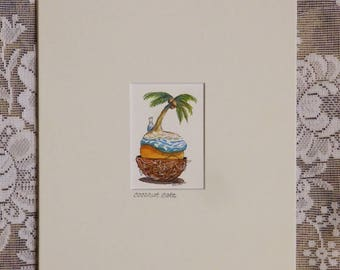 Coconut Cake, island art, gift for baker or foodie, kitchen decor, palm tree, original mini painting