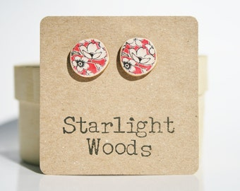 Red floral studs earrings • Red floral studs • Valentines day for her • Tiny Red Earrings • simple red studs