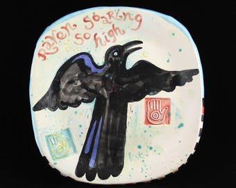Raven Ceramic Wall Art, Crow, Blackbird, Handmade and Hand Painted by Clay Artist, Karlene Voepel