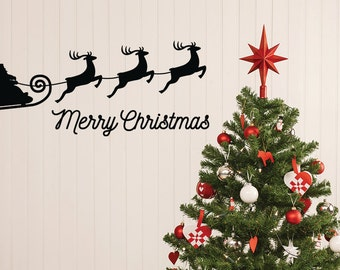 Christmas Wall Decal, Christmas Decoration, Merry Christmas Decal, Sleigh Decal, Santa Wall Decal, Reindeer Decal, Christmas Decor, Party