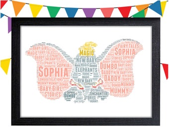 Personalized Gift Dumbo Baby Gift Wall Art Wall Prints Wall Art Wall Decor Gift For Her Baby Boy Gift Personalised Gift Wall Art Prints
