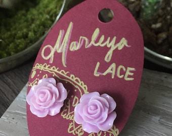 Lilac/ Lavender Rose stud earrings