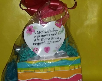 Basket, Blossom Lotion Mother's Day, frame and plaque.