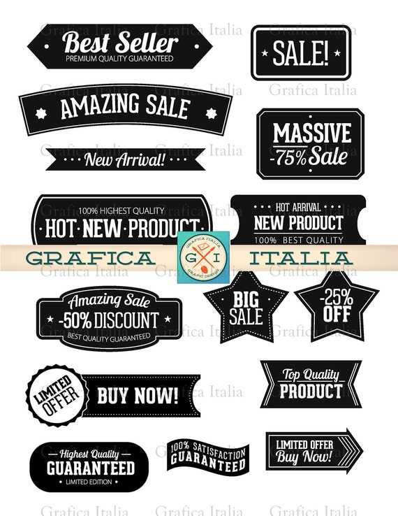 Label clipart set sticker clip art frame banner editable graphic design elements digital download with transparent background from graficaitalia