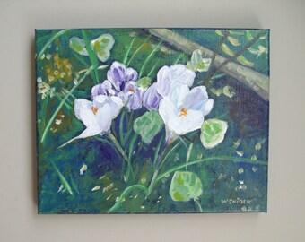 Acrylic Painting:  Spring Crocuses