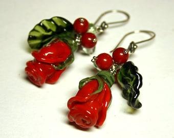 Handmade lampwork earrings with red  roses, glass earrings, red roses earrings, lampwork flower earrings, artisan glass, red earrings