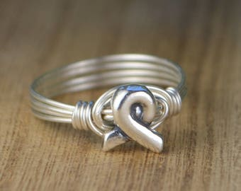 Silver Awareness Ribbon Wrapped Ring- Sterling Silver, Yellow or Rose Gold Filled Wire/ Sterling Silver Bead-Size 4 5 6 7 8 9 10 11 12 13 14