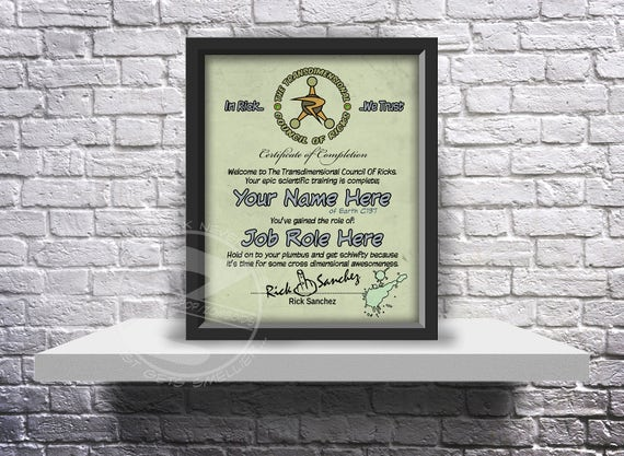 CUSTOM Rick and Morty inspired Council of Ricks acceptance certificate - Choose Inserts, and Size