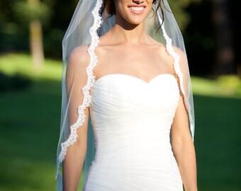 Alencon Lace Veil, fingertip veil, re-embroidered lace veil, lace bridal veil, ivory lace veil, scallop lace veil, bridal accessories