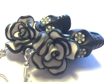 Sugar Skull Earrings Large Black and White Day of the Dead Skull Earrings