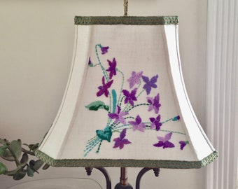 Embroidered Lamp Shades Lampshadeladys handmade lampshades by lampshadelady on etsy purple violets lamp shade lampshade vintage embroidery rectangle bell lampshade farmhouse decor audiocablefo