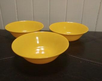 Texas Ware melamine yellow bowls