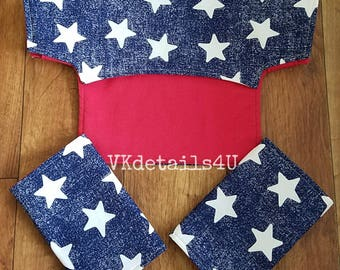 Lillebaby accessories Stars Patriotic, Bib cover, Drool Pads, blue red white. Lillebaby carrier, Complete airflow all Seasons Embossed.