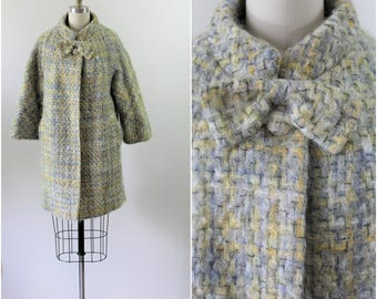 Vintage 50's LILLI ANN Woven Wool Mohair Tweed Wool Swing Evening Coat xs Small Excellent // Modern US 2-4