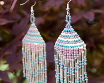 Turquoise Lavender Clear Native American Seed Bead Earrings