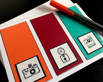 Set of 10 Colorful Camera Stationary Cards