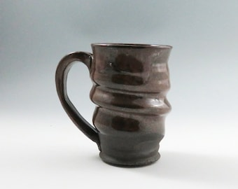 Large Red Brown Ceramic Pottery Mug,Wavey Brown Pottery Mug,Ready to Ship,Unique pottery Mug,Unusual Ceramic Mug,Red Mug,Beer Mug