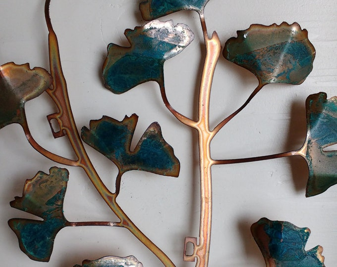Patina Ginkgo Leaves Wall Hanging
