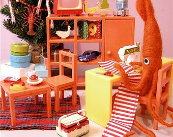 Print: Mr. Squid, a Crafter - Photograph Art Wall decor Sewing Plush Miniature Diorama HineMizushima Craft Holiday Christmas Orange