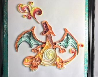 Pokemon Wall Art: Charizard Paper Quilling | Framed Papercraft | Pokemon Fine Art | Pokemon Sculpture