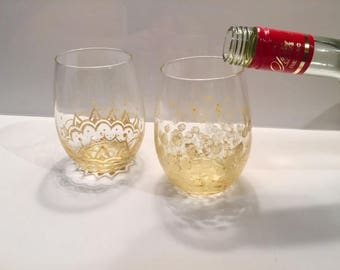 "Hand-painted Wine Glasses ""The Golden Pair"""